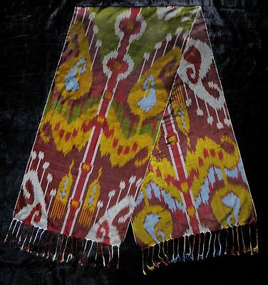 Uzbek Handmade Pure Silk Ikat Shohi Shawl Scarf For Your Wardrobe T737