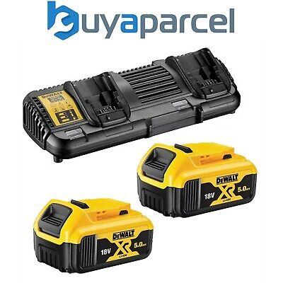 Dewalt DCB184 5.0ah 18v XR Lithium Ion Battery Twin Pack + DCB132 Dual Charger