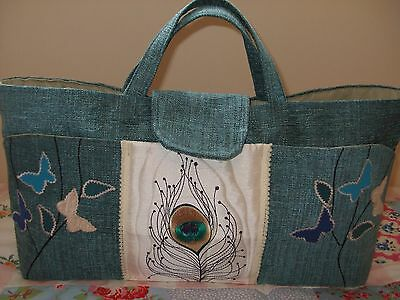 Knitting/sewing Craft Bag New Hand Made Teal Colour Peacock