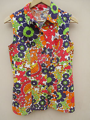 Vintage 70s bright floral textured cotton sleeveless micro mini shirt dress 14