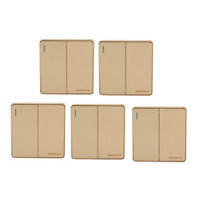 5Pcs On/Off Press Button 2-Gang Multi-Way Wall Switch Light Control Gold Tone