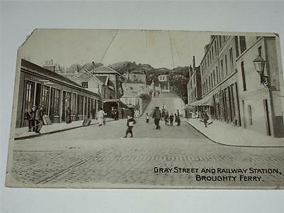 GREY STREET & RAILWAY STATION, BROUGHTY FERRY, DUNDEE RP POSTCARD c1910!