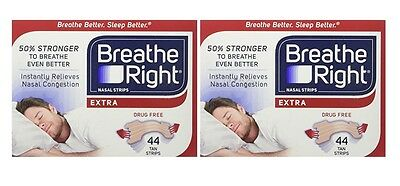 2pk Breathe Right Extra Nasal Strips Tan - 44pk each - (Unboxed) US IMPORT
