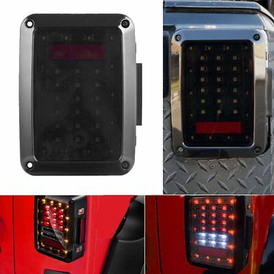 For 07-16 Jeep Wrangler JK LED Tail Lights Rear Brake Turn Signal Reverse Lamps