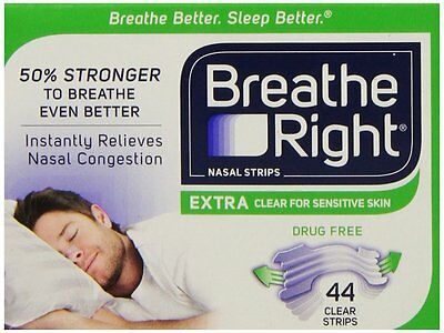 Breathe Right Extra Nasal Strips Clear Sensitive Skin - 44pk - (Boxed) US IMPORT