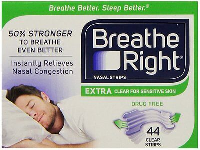 Breathe Right Extra Nasal Strips Clear Sensitive - 44pk - (Unboxed) US IMPORT