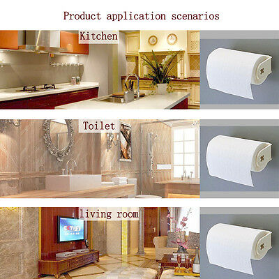 Wall Mount Roll Paper Towel Plastic Holder Rack Suction Kitchen Bathroom Pantry