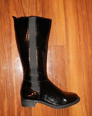 Womens Stunning New Comfy Flat Black Knee High Black Chelsea Boots: Size 4 (37)