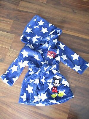 Boys MICKEY MOUSE blue bathrobe dressing gown 3-6 months - Disney