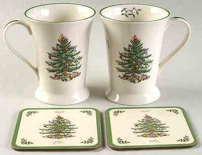 Spode CHRISTMAS TREE Set Of 2 Mugs & Coasters (Pimpernel) 9568438