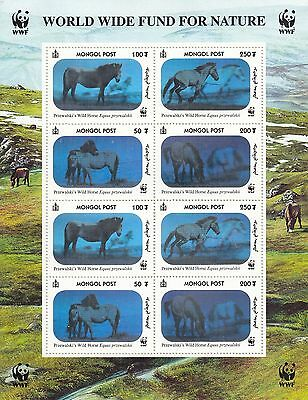 MONGOLIA - HOLOGRAM HORSES - chevaux - full sheet of 8 MInt, OG NH - fantastic