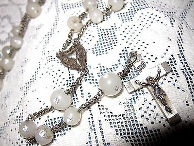 Antique French Mother of Pearl & Silver Rosary