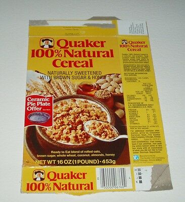1979 Quaker 100% Natural Cereal Box - granola