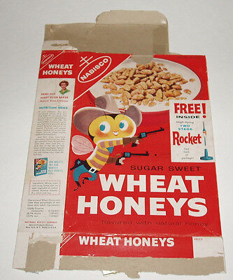1960's Nabisco Wheat Honeys Cereal Box with Plastic 2 Stage Rocket premium offer