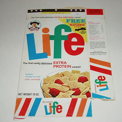 1968 LIFE Cereal Box with Diecast Matchbox Car offer Greyhound Bus FORD MUSTANG