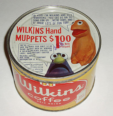 1950's Wilkins MUPPETS offer Coffee Tin Jim Henson puppets Wonktins