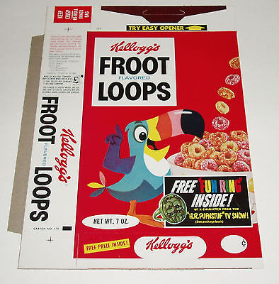 1970 Kelloggs Froot Loops Cereal Box w/ HR Pufnstuf Premium Ring offer Krofft