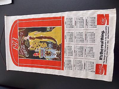 Coca- Cola cloth calendar from 1973 in outstnading condition.  COCA COLA 1973