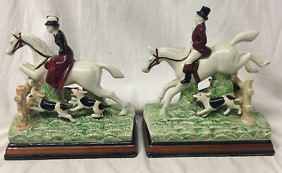 """Fitz & Floyd Equestrian Pair Of Man & Woman Horse Riders Hunt Bookends 7"""""""