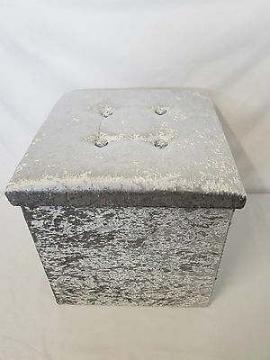 Crushed Velvet Toy Diamante Ottoman Folding Storage Pouffe Box Stool Seat Grey
