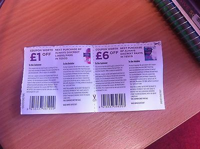 TESCO Voucher ~ always liners/pads & discreet pants £7.00 money-off ~ exp 10/07