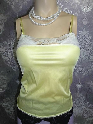 Vintage Camisole Top Slip Nighty Yellow Soft Nylon French Maid 1980s Lingerie 34