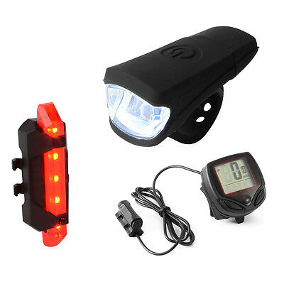 Bicycle Front Head USB LED Light + Rear Tail Lamp + Computer Speedometer CS519