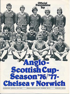 CHELSEA v Norwich City (Anglo Scottish Cup) 1976/7