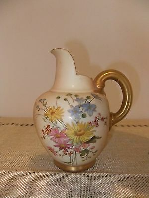 Royal Worcester Rare Hand Painted Jug Withflowers