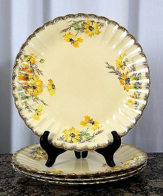 """4pc VTG GOLDEN WARE by SEBRING 22 CARAT PURE GOLD YELLOW DAISY DINNER PLATES 10"""""""