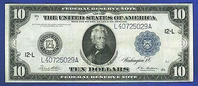 "$10 1914 LARGE BETTER GRADE ""TYPE C"" SAN FRAN Federal Reserve Note!"