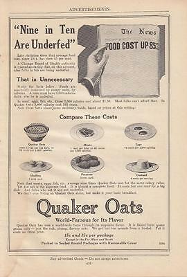1920 Quaker Oats Ad: Costs 1 Cent Per Big Dish or 5-1/2 Cents Per 1000 Calories