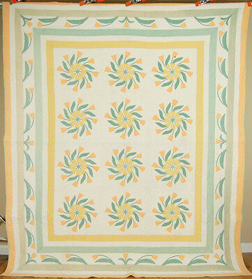 WELL QUILTED Vintage 20's Marie Webster Windblown Tulips Applique Antique Quilt!