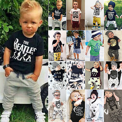 2Pcs Infant Kids Baby Boys Clothes T-shirt Tops Pant Jumpsuit Casual Outfit Set