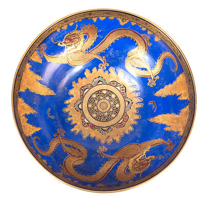 Large Antique Gold Dragon Carlton Ware England Handpainted Bowl 10""