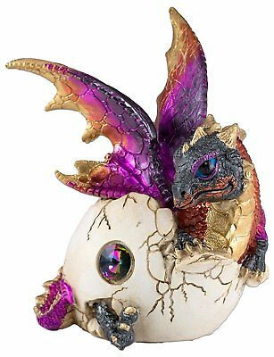 """Purple & Gold Baby Dragon Hatching From Egg Figurine Hatchling 5.25"""" Resin NIB"""