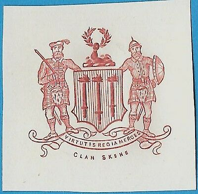 + Scottish Lowlands Clan of Skene Embossed Arms Crest Cut Square Reprint
