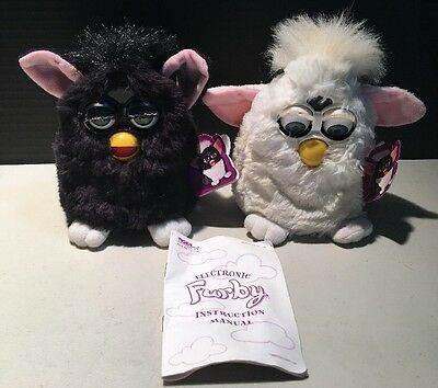 Used 1999 TIGER ELECTRONICS Black & White FURBY Lot of 2 w/Booklet UNTESTED!