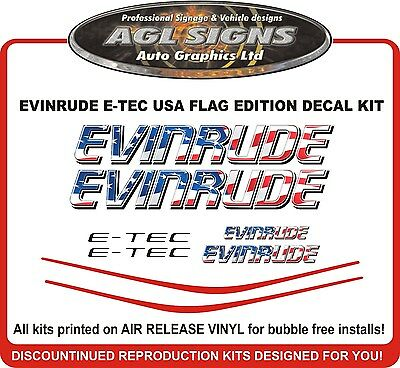 EVINRUDE E-TEC USA Flag outboard decal kit  115 135 150 175 200 225 250 hp