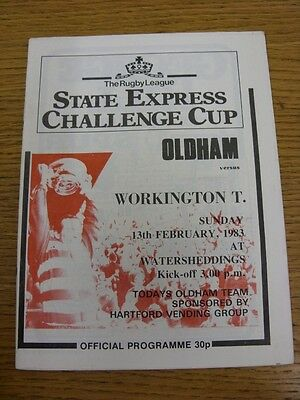 13/02/1983 Oldham v Workington Town [Challenge Cup] Rugby League Official Progra