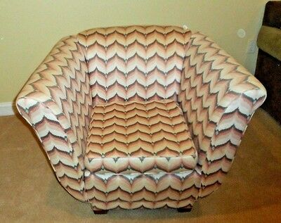 Art Deco Upholstered Armchair Pink Flame Pattern
