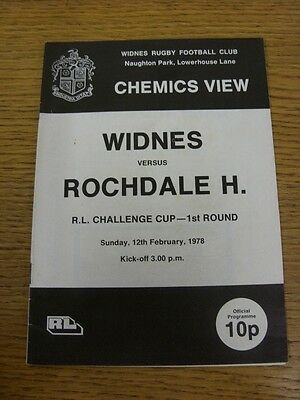 12/02/1978 Widnes v Rochdale Hornets [Challenge Cup] Rugby League Official Progr
