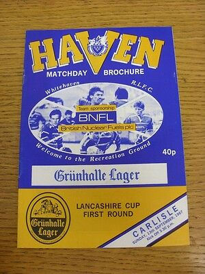 13/09/1987 Whitehaven v Carlisle [Lancashire Cup] Rugby League Official Programm