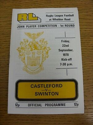 22/09/1978 Castleford v Swinton [John Player Trophy] Rugby League Official Progr