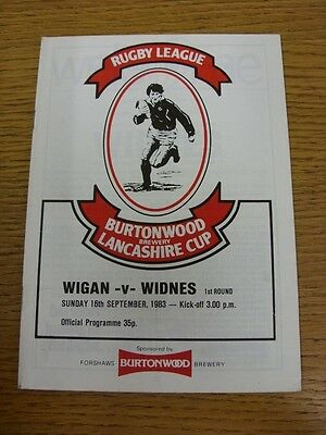 16/09/1983 Wigan v Widnes [Lancashire Cup] Rugby League Official Programme (the