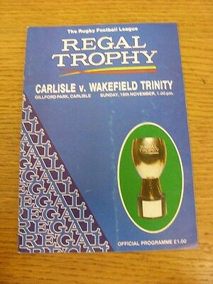 18/11/1990 Carlisle v Wakefield Trinity [Regal Trophy] Rugby League Official Pro