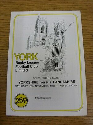 26/11/1983 Yorkshire Colts v Lancashire Colts [At York] Rugby League Official Pr