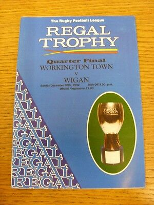 20/12/1992 Workington Town v Wigan [Regal Trophy] Rugby League Official Programm