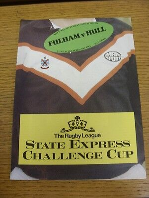28/02/1982 Fulham v Hull [At Craven Cottage] Rugby League Official Programme (th