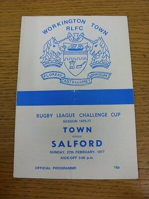 27/02/1977 Workington Town v Salford [Challenge Cup] Rugby League Official Progr